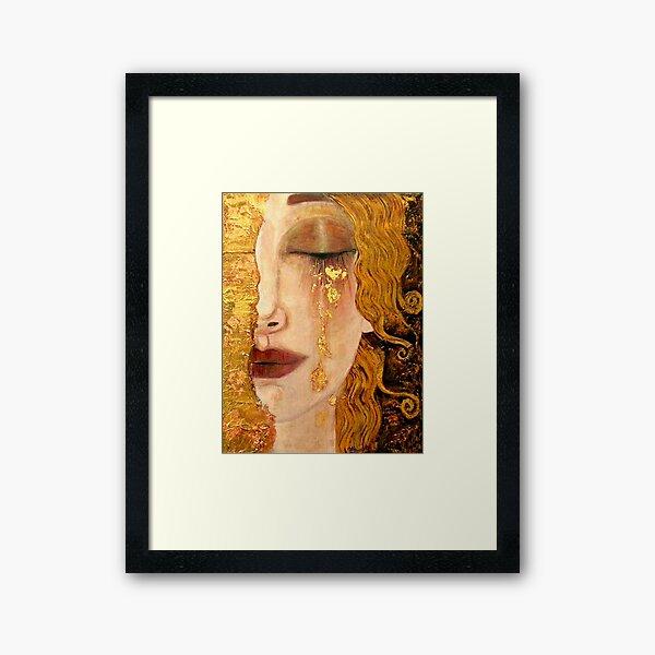 Freya's Tears (Golden Tears) portrait by Gustav Klimt Framed Art Print