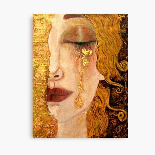 Portrait de Freya's Tears (Golden Tears) par Gustav Klimt Impression sur toile