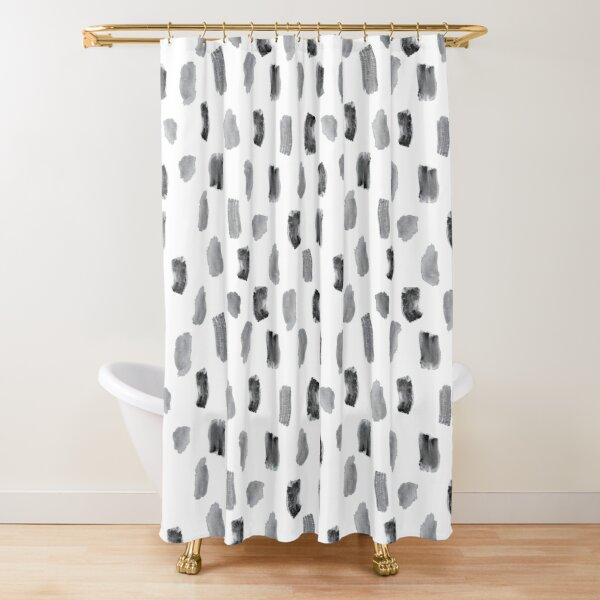 Black Watercolor Marks Shower Curtain