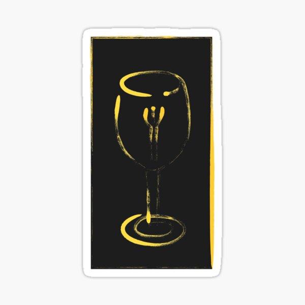 minimal golden chef wine glass Sticker