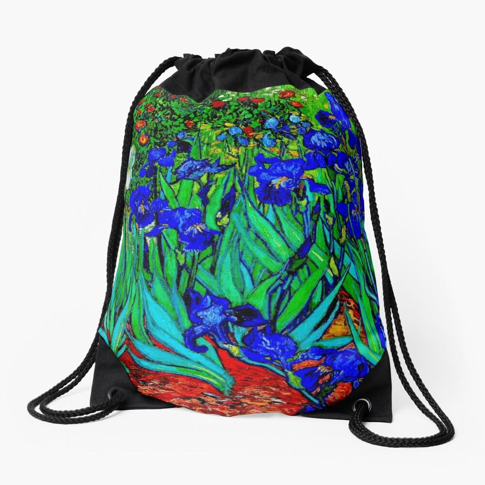 """Irises"" by Vincent van Gogh | van Gogh Fine Art Drawstring Bag"