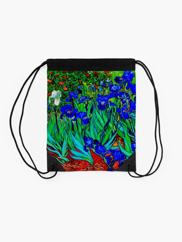 "Alternate view of ""Irises"" by Vincent van Gogh | van Gogh Fine Art Drawstring Bag"