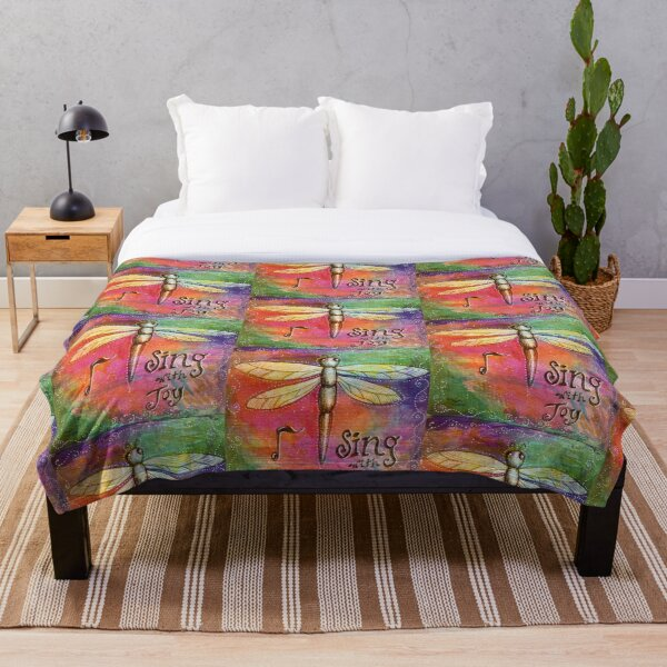 Sing with Joy Dragonfly Throw Blanket