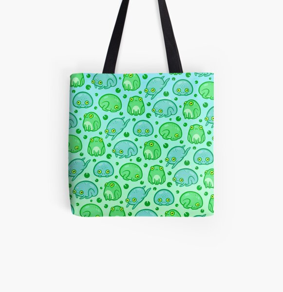 Friendly Frogs All Over Print Tote Bag
