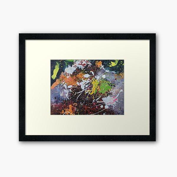 Multi-color Grunge Splatter Abstract Acrylic Art Framed Art Print