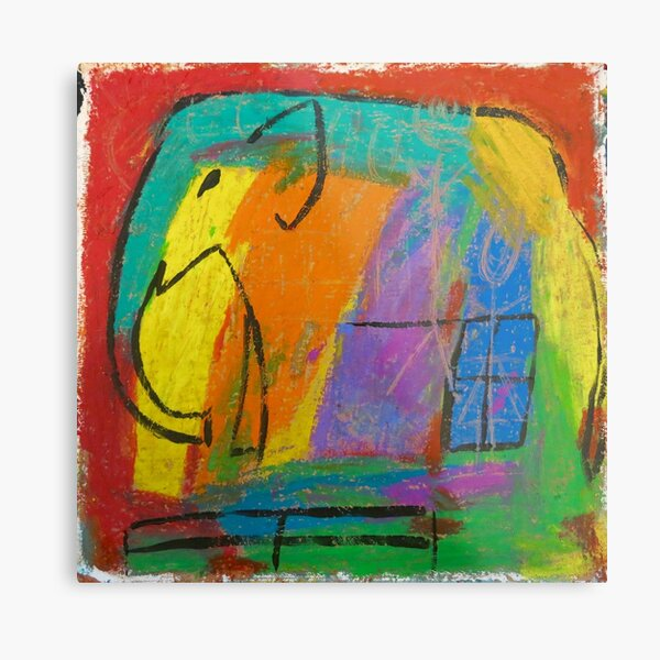 colorful rainbow elephant in the room Metal Print
