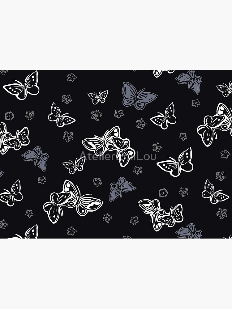 Mariposa y flor de cerezo - negro de AtelierEmiLou