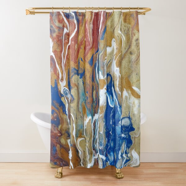 Red and Gold pour art -- lava Shower Curtain