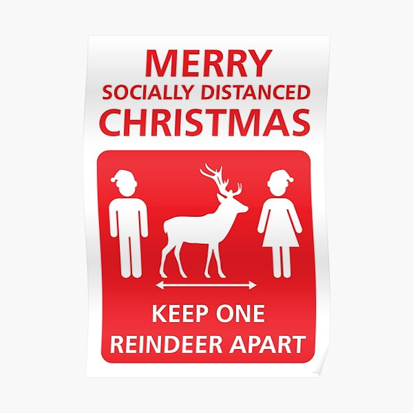 Covid-19 Merry Socially Distanced Christmas (red) Poster