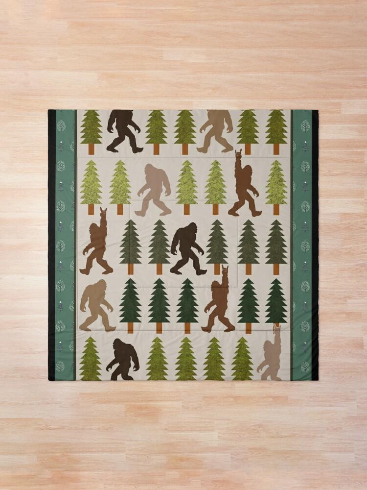 Alternate view of Trendy Bigfoot Walking In The Forest Graphic Blanket Design Sasquatch Believers Comforter