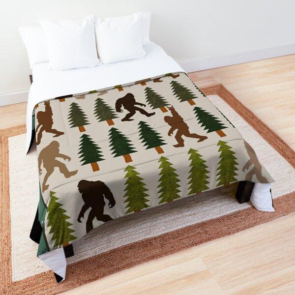 Trendy Bigfoot Walking In The Forest Graphic Blanket Design Sasquatch Believers Comforter