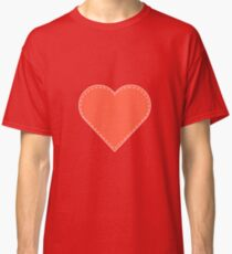 Simple Pink and Red Stitched Heart Classic T-Shirt