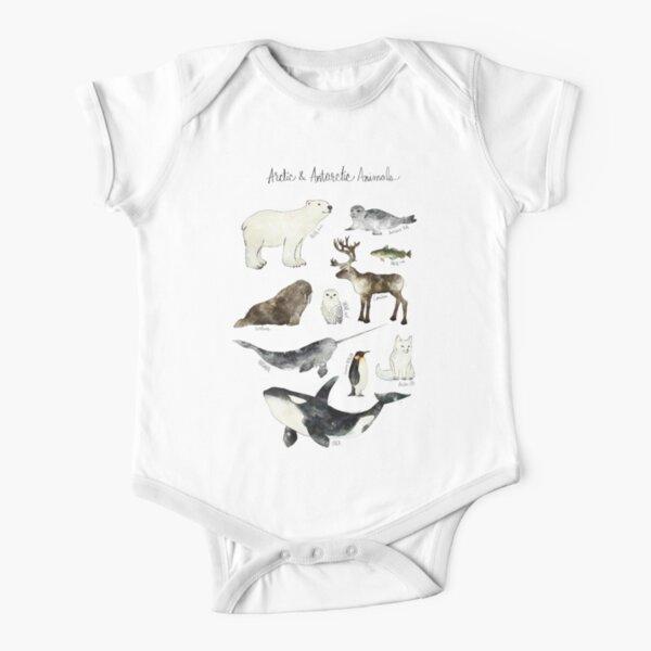 Arctic & Antarctic Animals Short Sleeve Baby One-Piece