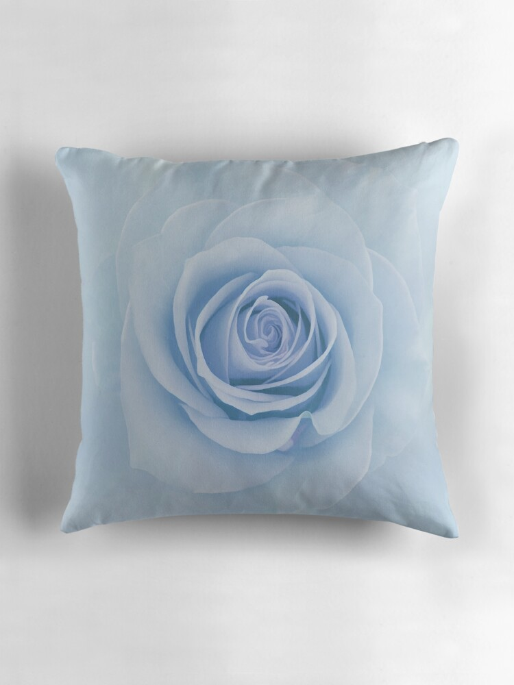 Quot Soft Baby Blue Rose Abstract Quot Throw Pillows By Judy