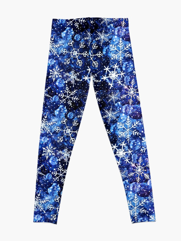 Alternate view of Blue snowflake galaxy, Celestial snowflakes and stars in blue watercolor Leggings