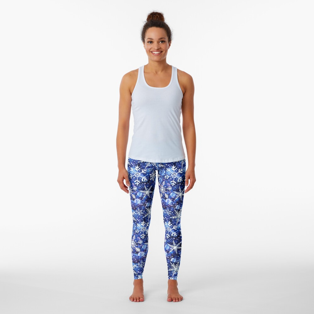 Blue snowflake galaxy, Celestial snowflakes and stars in blue watercolor Leggings