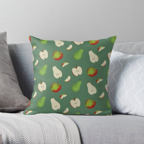 Apples and Pears Green Throw Pillow
