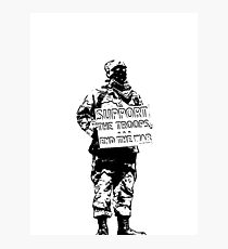 Support the Troops - End the War.  Soldier activist. Photographic Print
