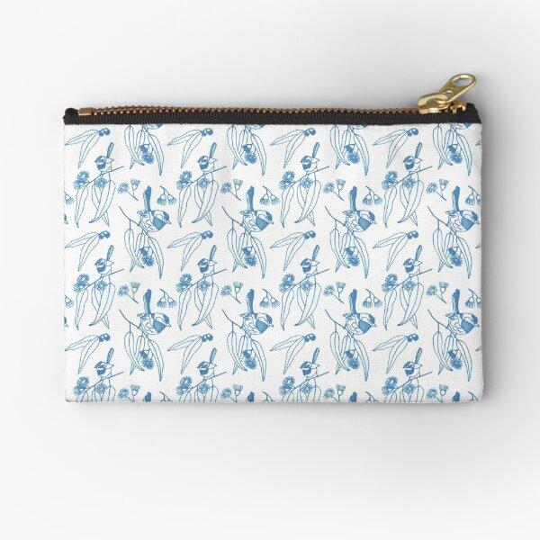 Blue Wren Sketch Zipper Pouch