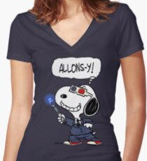 Snoopy Doctor Who Women's Fitted V-Neck T-Shirt