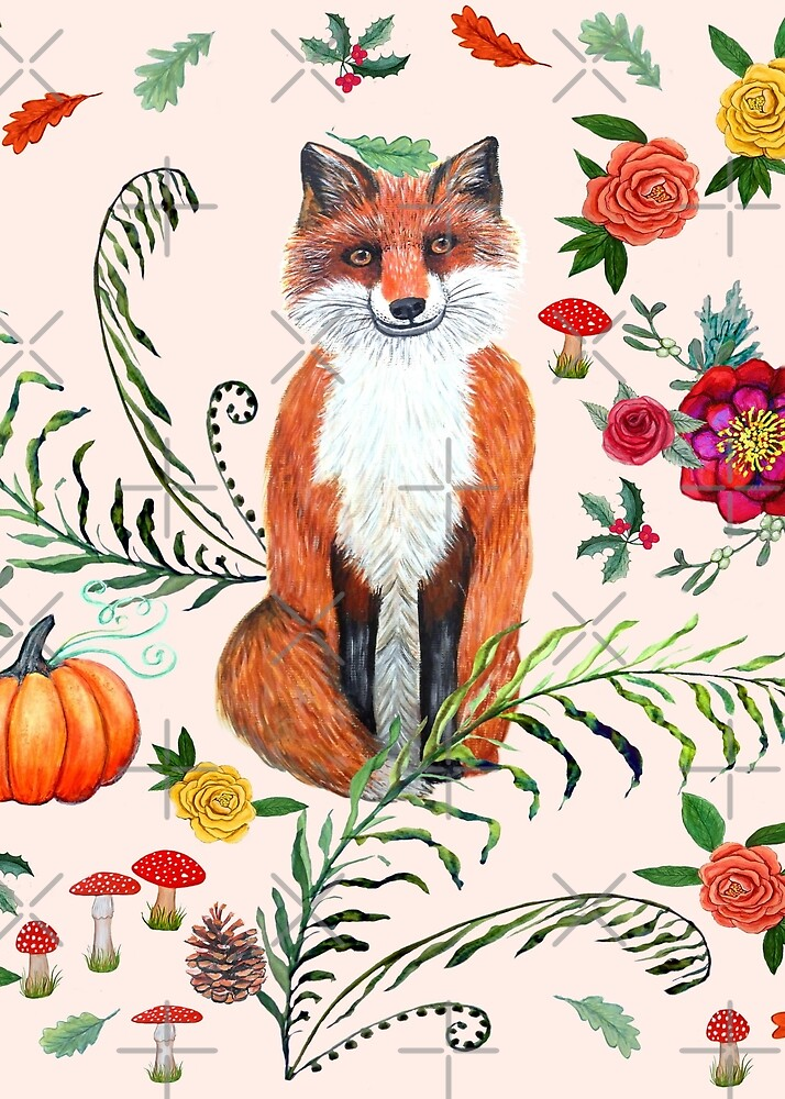 fox with Poinsettia, holly, red mushrooms, pine cones and autumn leaves by MagentaRose