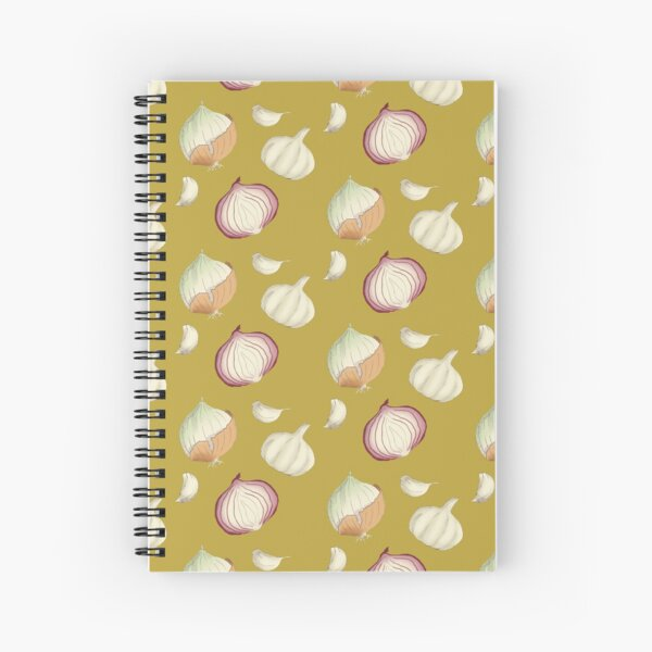 Onions and Garlic Yellow Spiral Notebook