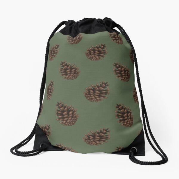Pinecones Green Drawstring Bag