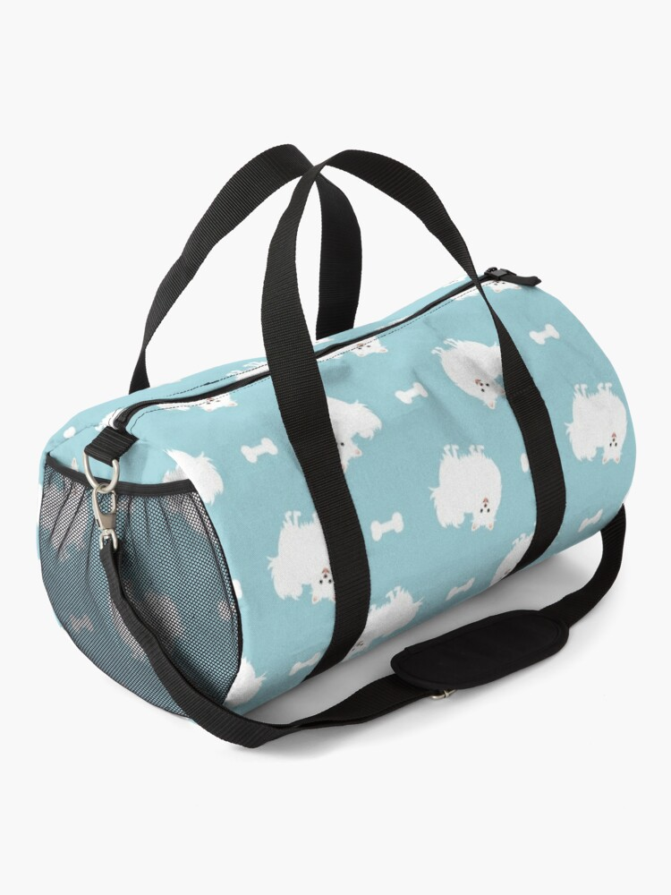 Alternate view of Cute White Pomeranian Dog  Duffle Bag