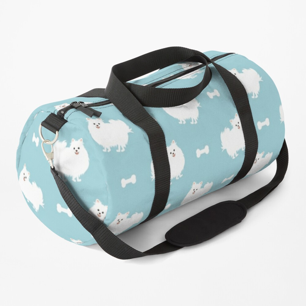 Cute White Pomeranian Dog  Duffle Bag