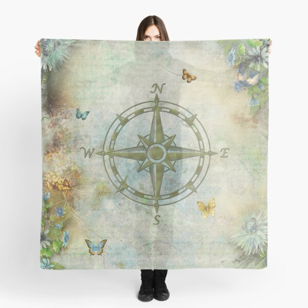 Vintage Butterfly Compass Scarf
