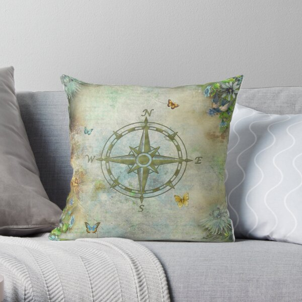 Vintage Butterfly Compass Throw Pillow