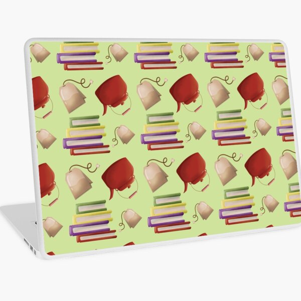 Green Reading Set with Tea or Coffee Laptop Skin