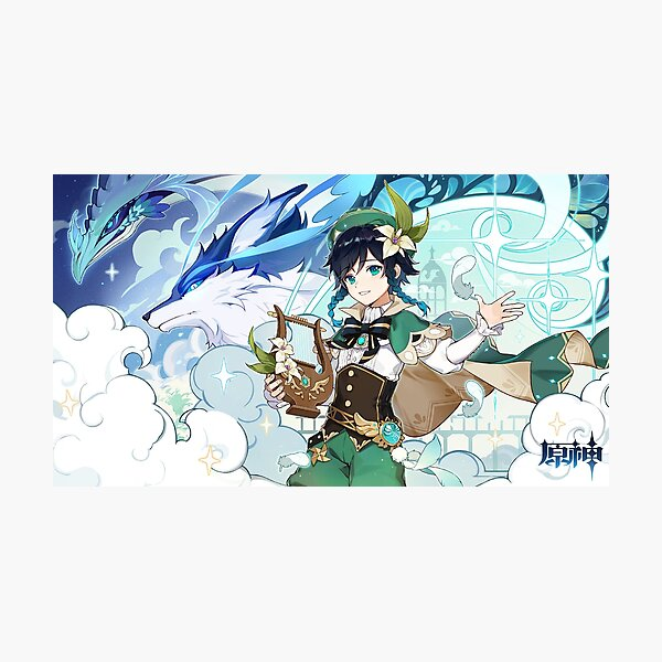 Genshin Impact - Venti, Dvalin and Wolf of The North Official Artwork Photographic Print