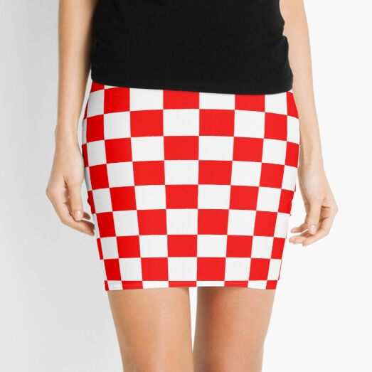 Croatia Red and White Checkerboard Mini Skirt