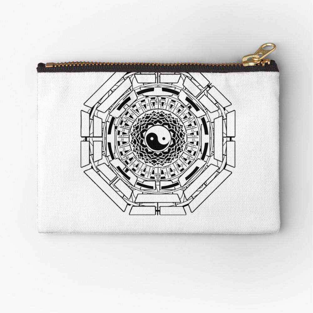 Canvas Cash Coin Purse,Ying Yang Diagram Print Make Up Bag Zipper Small Purse Wallets