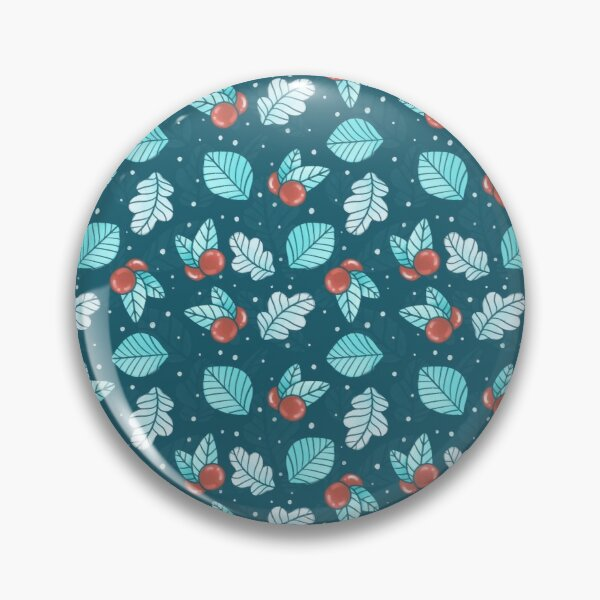 Festive Nordic Holiday Floral Pattern with Leaves and Lingonberries Pin