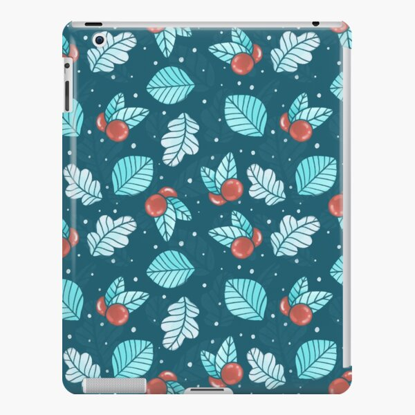 Festive Nordic Holiday Floral Pattern with Leaves and Lingonberries iPad Snap Case