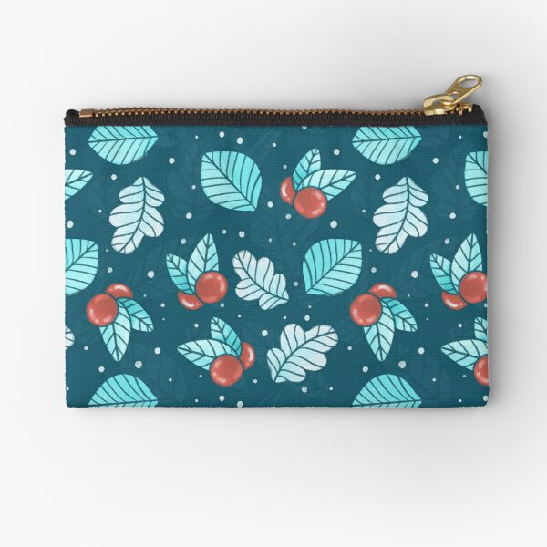 Festive Nordic Holiday Floral Pattern with Leaves and Lingonberries Zipper Pouch