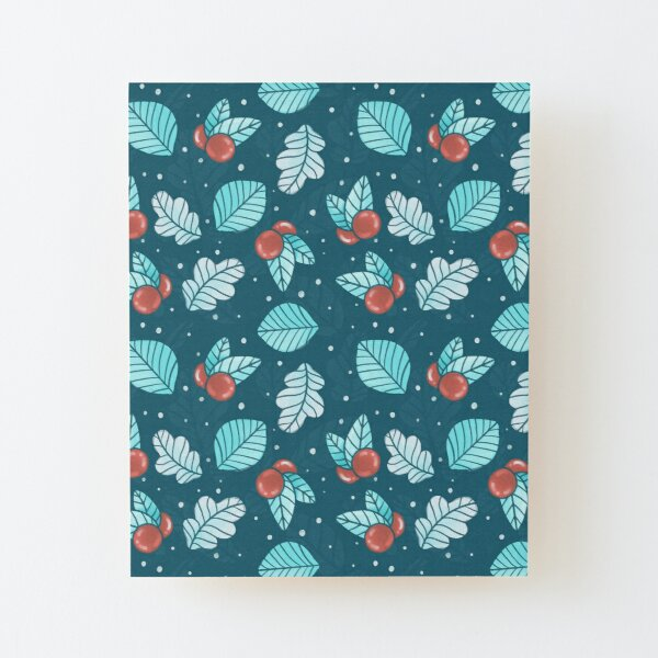 Festive Nordic Holiday Floral Pattern with Leaves and Lingonberries Wood Mounted Print