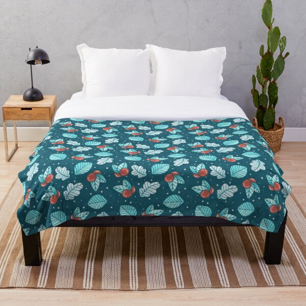 Festive Nordic Holiday Floral Pattern with Leaves and Lingonberries Throw Blanket