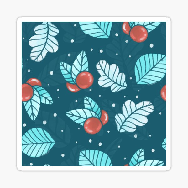 Festive Nordic Holiday Floral Pattern with Leaves and Lingonberries Sticker