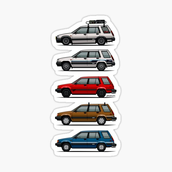 Stack Of Toyota Tercel Sr5 4wd Al25 Wagons Sticker