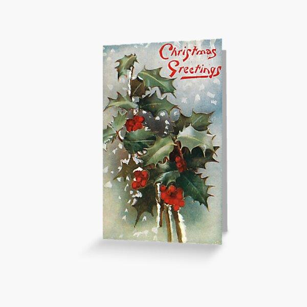 Vintage Christmas Holly Postcard Greeting Card