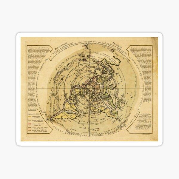 North Pole Centered World Map (1756) Sticker