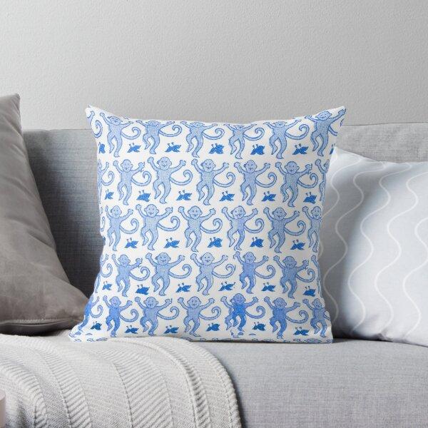 Blue roller rabbit print Throw Pillow