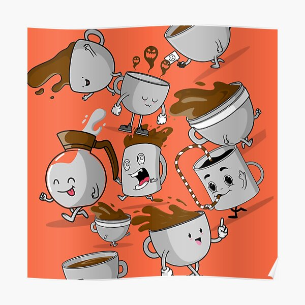 Funny Coffee Cups Poster