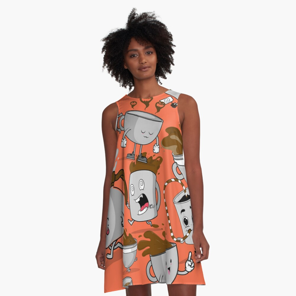 Funny Coffee Cups A-Line Dress