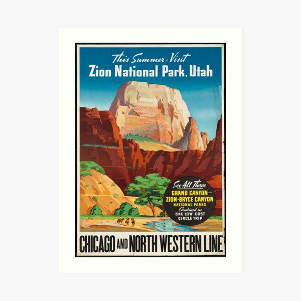 Vintage Travel Poster: Zion National Park Art Print