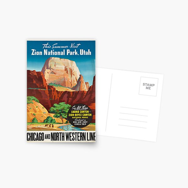 Vintage Travel Poster: Zion National Park Postcard