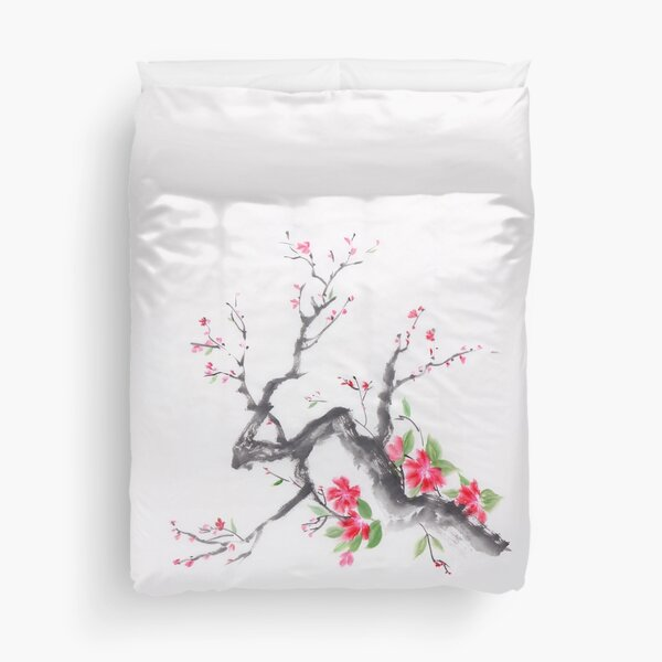 Cherry blossom branch sumi-e ink painting with bright pink flowers art print Duvet Cover